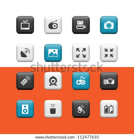 Multimedia icons. Buttons - stock vector