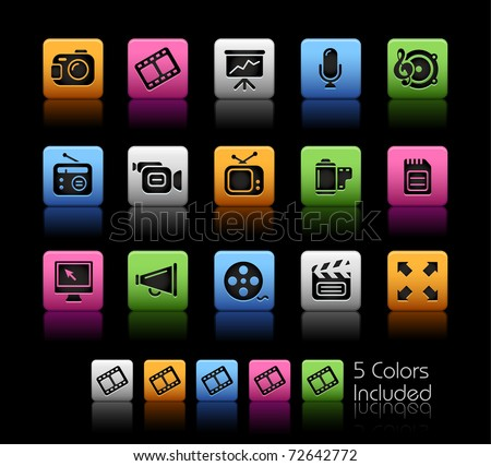 Multimedia Icons // Color Box -------It includes 5 color versions for each icon in different layers --------- - stock vector