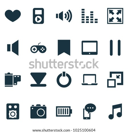 Multimedia icons set with laptop, mute, start and other stop elements. Isolated vector illustration multimedia icons.