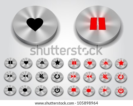Multimedia metal button collection - stock vector