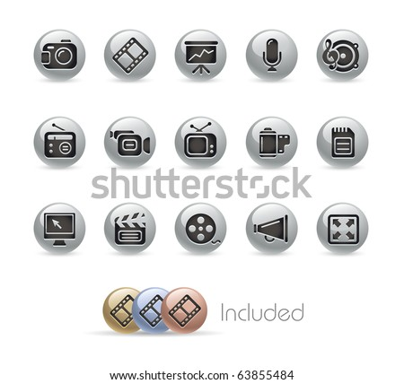 Multimedia // Metal Round Series --- It includes 4 color versions for each icon in different layers---
