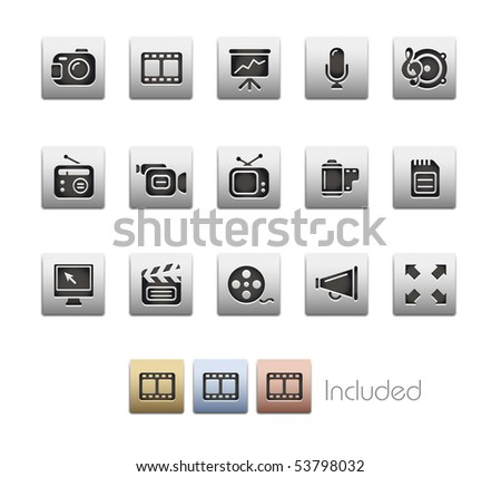 Multimedia // Metallic Series - It includes 4 color versions for each icon in a different layer. - stock vector