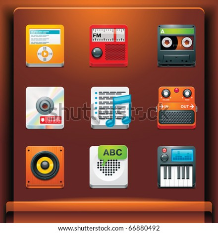 Multimedia. Mobile devices apps/services icons. Part 5 of 12 - stock vector