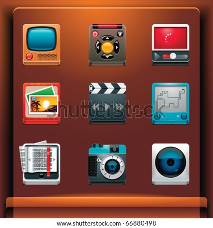 Multimedia. Mobile devices apps/services icons. Part 6 of 12 - stock vector