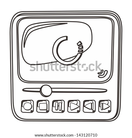 multimedia outline icon - stock vector