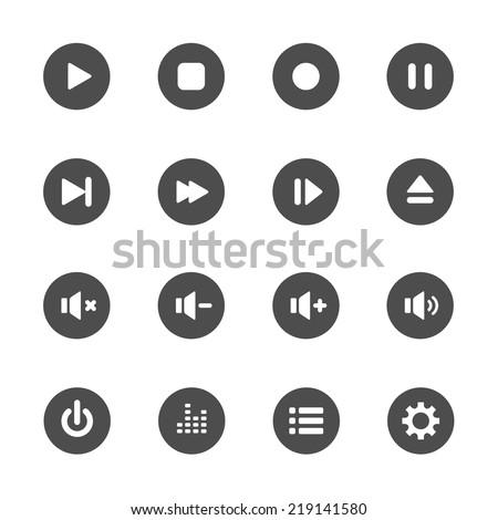multimedia player icon set, vector eps10. - stock vector