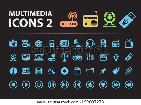 Multimedia Silhouette Icons 2. - stock vector