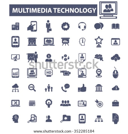 multimedia technology, interactive media, audio, video player icons, signs vector concept set for infographics, mobile, website, application  - stock vector