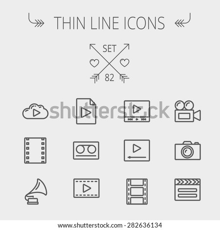 Multimedia thin line icon set for web and mobile. Set includes- phonograph, video ca, camerta, clapboard, film, strips, cloud, cassette, tape, arrow, forward icons. Modern minimalistic flat design - stock vector