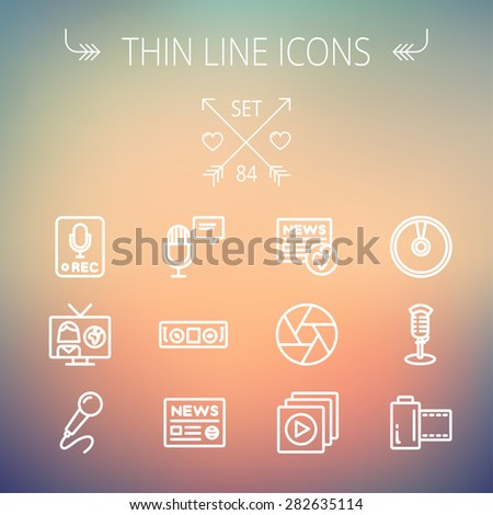Multimedia thin line icon set for web and mobile. Set includes- vintage mic, car stereo, news, station, news report, tv, camera shutter, media player, Cd, film roll icons. Modern minimalistic flat - stock vector
