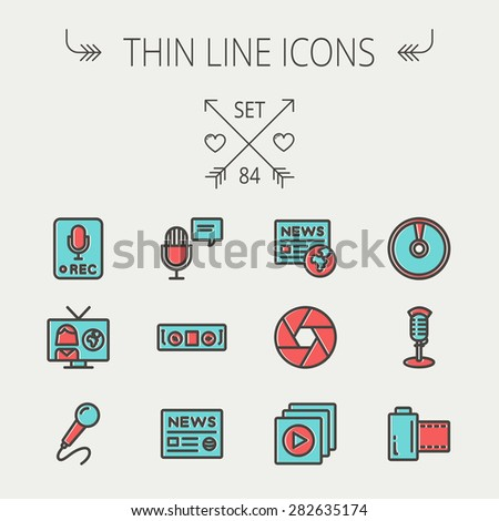 Multimedia thin line icon set for web and mobile. Set includes -vintage mic, car stereo, news, station, news report, tv, camera shutter, media player, Cd, film roll  icons. Modern minimalistic flat - stock vector