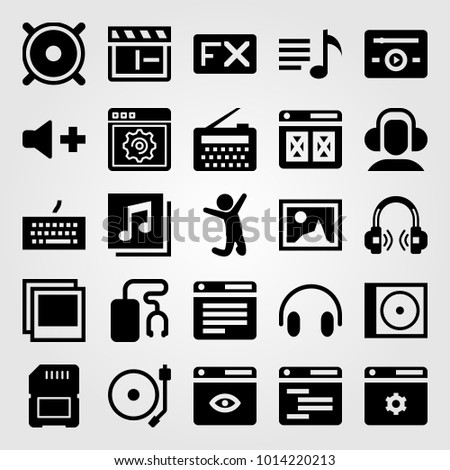 Multimedia vector icon set. clapperboard, keyboard, quaver and memory