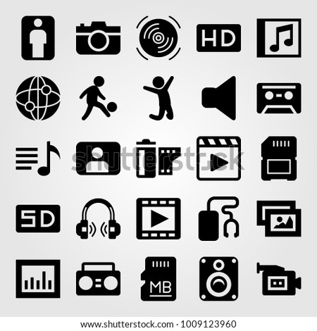 Multimedia vector icon set. compact disk, man, cassette and analytics