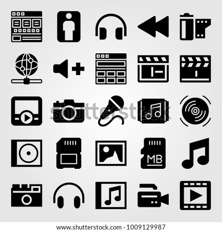 Multimedia vector icon set. headphones, film roll, photo camera and musical note