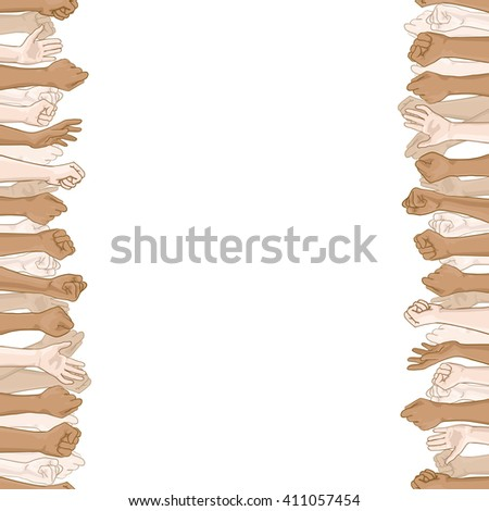 Multinational crowd of people with their hands up. Template of square banner with white space for text. Hand drawn design element. Vector hand drawn frame with people's raised hands. Seamless border - stock vector