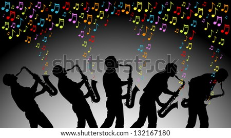 multiple angles of man playing colored musical notes on a saxophone. EPS is AI10 with blends in the background. - stock vector