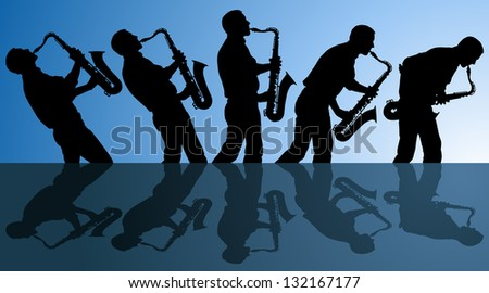 multiple angles of man playing the blues on a saxophone. EPS file is AI10 with blends in background.