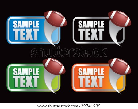 multiple colored curl banners featuring footballs - stock vector