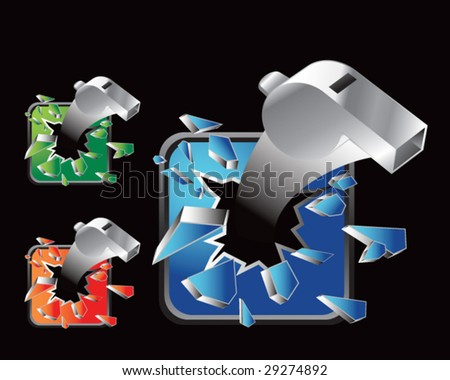 multiple colored icon breaking whistles - stock vector