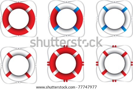 Multiple colored life rings - stock vector