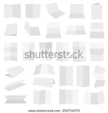 Multiple flat style folded A4 white paper sheet set, eps10 vector illustration - stock vector