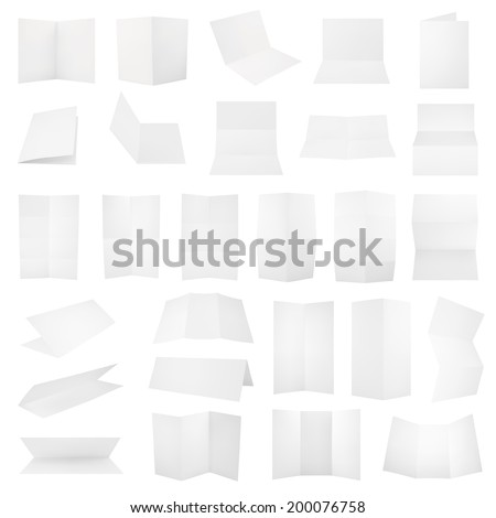 Multiple folded A4 white paper sheet set with the realistic shading, eps10 vector illustration - stock vector