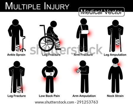 Multiple injury set ( Ankle sprain, Leg fracture, Arm fracture, Leg amputation, Leg broken , Low back pain, Arm amputation, Neck strain , arthritis ) Vector Medical stick man, physical therapy concept
