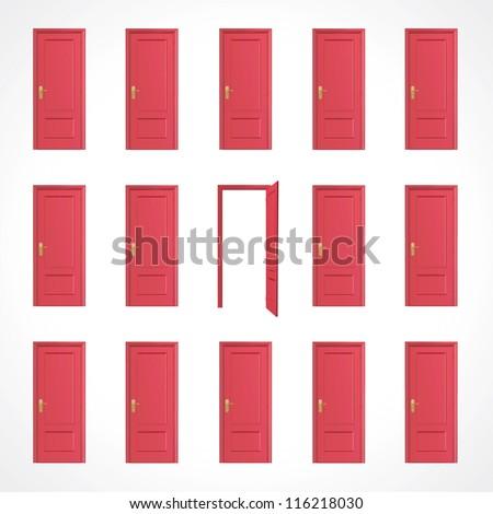 Multiple red doors. Vector design. - stock vector