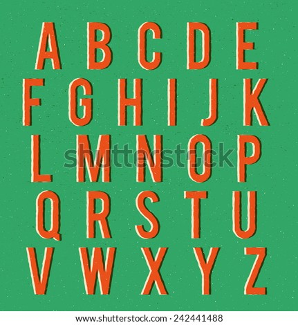 Multiplied retro alphabet with vector texture