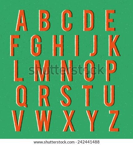 Multiplied retro alphabet with vector texture - stock vector