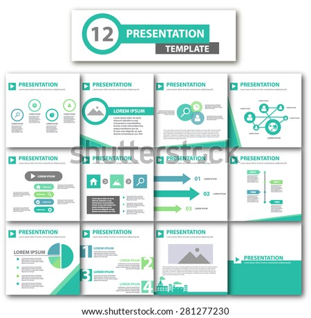 Multipurpose Creative Green Presentation template brochure flyer design set  - stock vector