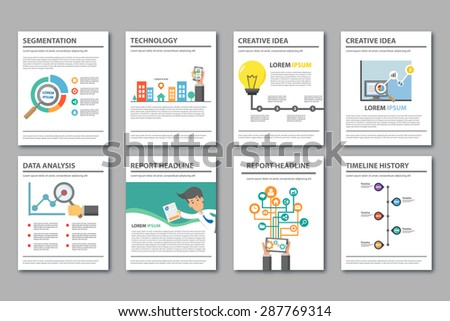 Multipurpose presentation Template Flat Design Brochure Flyer report Magazine Set - stock vector