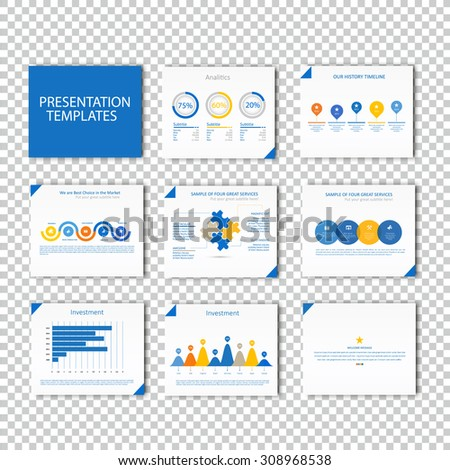 Multipurpose template for presentation slides with graphs and charts - blue color version. Perfect for your business report or personal use. - stock vector