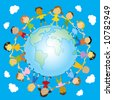 multiracial happy kids holding their hands around the globe vector illustration - stock vector