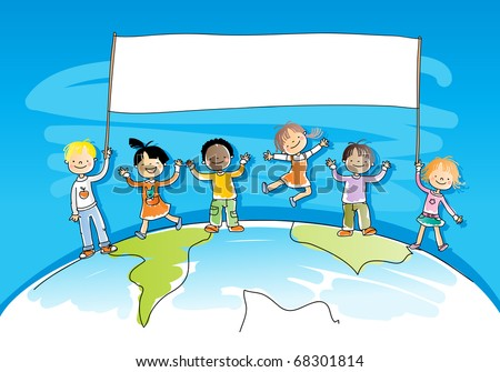 multiracial, multicultural happy kids on top of the world, holding a banner for your message, watercolor style, grouped and layered for easy editing - stock vector