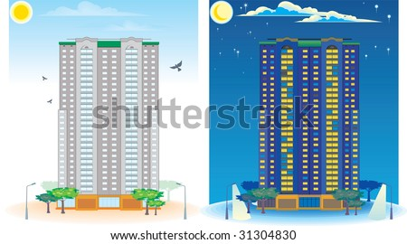 Multistoried House. Day and Night - stock vector