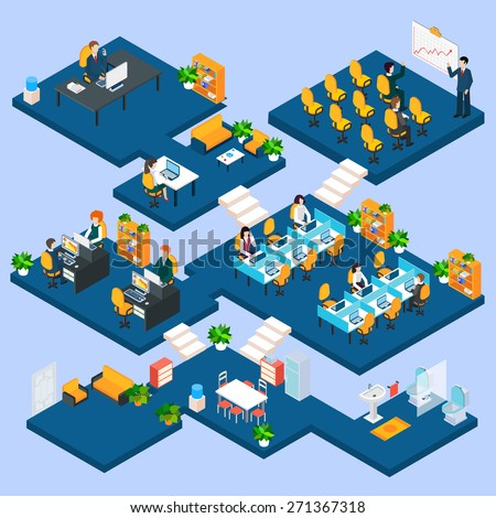 Multistory office isometric with business people and interior 3d icons vector illustration - stock vector