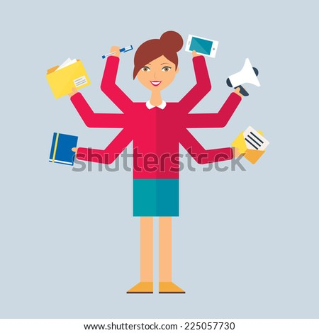 Multitasking character: manager. Flat style, vector illustration  - stock vector