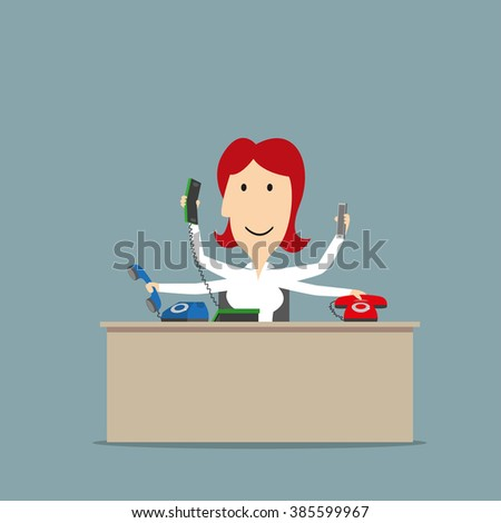 Multitasking smiling secretary successfully using a several telephones at the same time. Business concept of multitasking or successful business