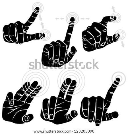 Multitouch Hand Gestures For Smart-phone, Tablet And Pad - Set of Six Gestures - stock vector