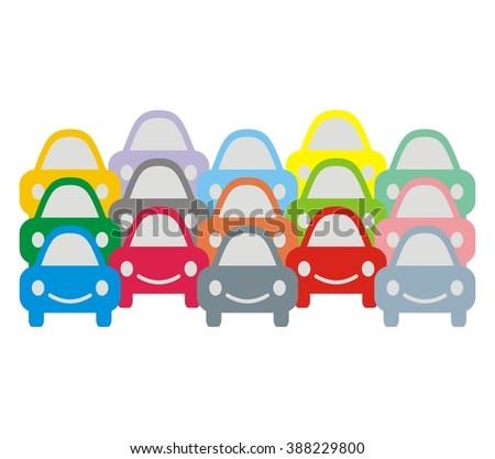 multitude cars - stock vector