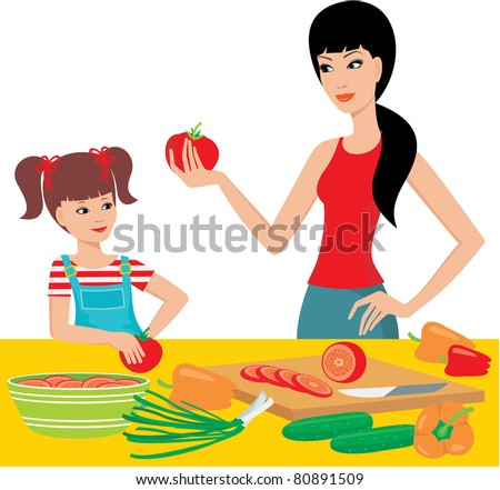 Mum learns the daughter to prepare. vector, white background