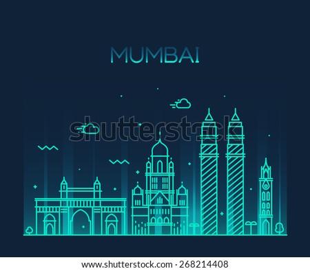 Mumbai City skyline detailed silhouette. Trendy vector illustration, line art style. - stock vector