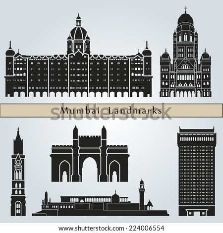 Mumbai landmarks and monuments isolated on blue background in editable vector file - stock vector