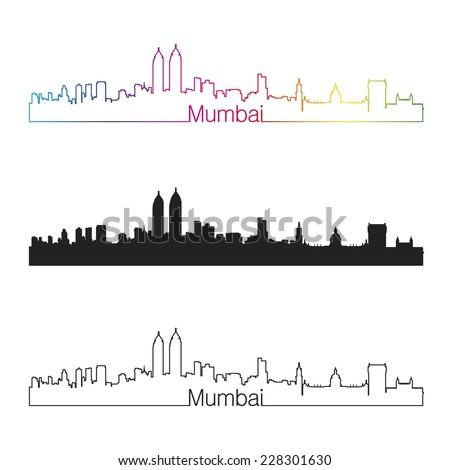 Mumbai skyline linear style with rainbow in editable vector file - stock vector