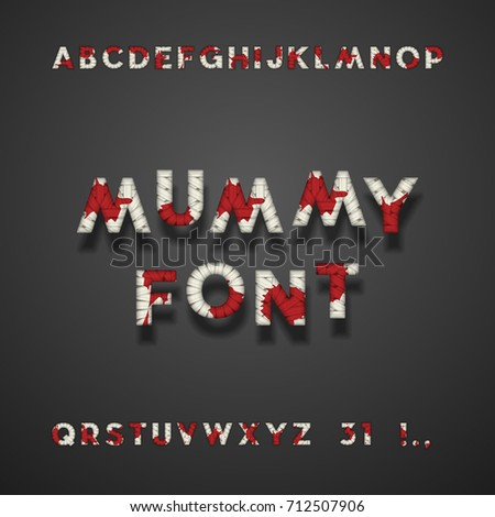 Mummy Bandage Font With Blood Halloween Sans Serif Typeface Letters Punctuation Marks