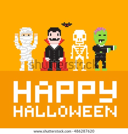 Mummy, dracula, skeleton and zombie in pixel art game style. Happy halloween vector illustration