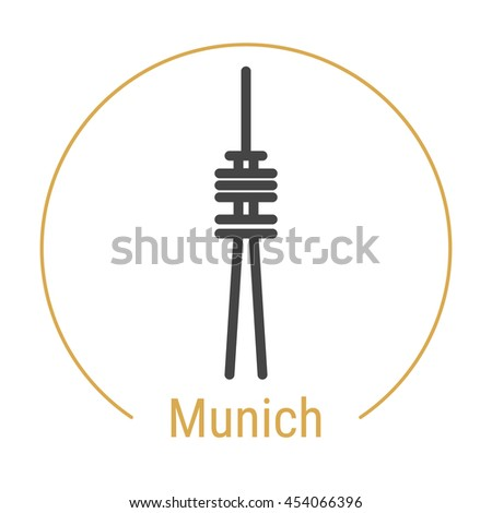 Munich Germany Outline Icon Caption Munich Stock Vector Royalty