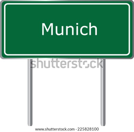 Munich, Germany, road sign green vector illustration, road table - stock vector