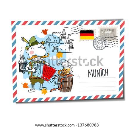 Munich postcard - stock vector